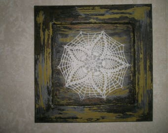 Wood frame with inlay cotton doily
