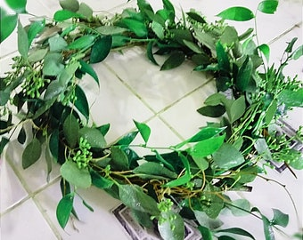 Hoop Centerpiece, Italian Ruscus Candle Ring, FRESH Centerpiece, Shabby Chic Centerpiece, Greenery Centerpiece, Eucalyptus Centerpiece