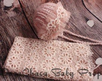 20%OFF* Newborn Girl Bonnet, Baby Blanket, Newborn Photo Prop, Baby Prop, Pink Bonnet, Pink Baby Blanket, Knit Bonnet, Newborn Lace Blanket
