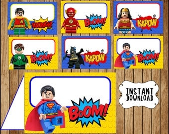 Printable Lego Superhero Food labels instant download Lego Batman party Food tent cards Printable  sc 1 st  Etsy : superman tent - memphite.com