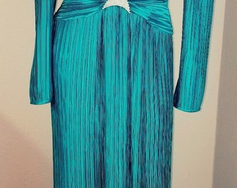 Vintage George F Couture NY Teal/Green Fortuny pleated jeweled evening dress gown SZ8