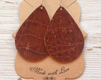 Brown Cork Leather Teardrop Earrings, Cork Earrings, Teardrop Earrings, Statement Earrings, Boho