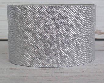 Silver Saffiano Leather Cuff Bracelet, Leather Cuff, Cuff Bracelet, Statement Bracelet, Boho