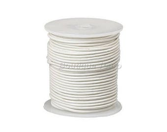 1 mm, 2mm or 3mm - White Leather - 1 m or 2 m leather cord