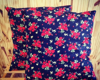 Red and Navy Blue Cushion cover