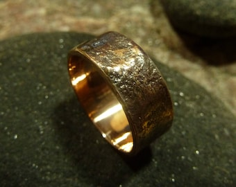 Silver Fused  Texture Copper Band Ring.