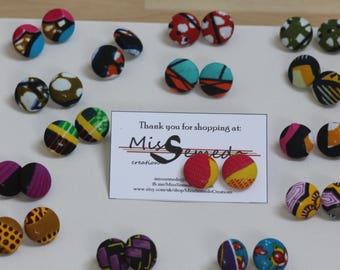 Button earrings, African fabric earrings, studs, ankara earrings, african earrings, ankara, afrocentric earrings