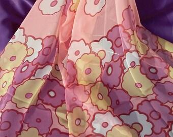 Apricot Color Scarf Boho Shawl Flowers Chiffon Polyester Silk Scarves Women Silk Scarf Romantic Gift Vintage Flowers Scarf  Bandana Wrap