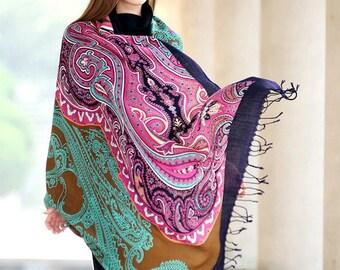 Purple Green Paisley Pashmina Shawl Cashmere Scarf Wedding Scarf Boho Bohemian Scarves Oversized Wool Shawl Paisley Esharp Hijab Wrap Navy
