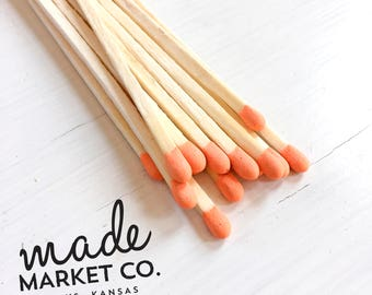 Coral Orange Colored Tip Matches. Match Sticks Refills Unbottled 50 Count Farmhouse Home Decor Gifts for Her Best Seller Most Popular Item