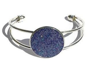 Druzy bracelet, Druzy jewelry, dark purple Druzy, cuff bracelet, geode jewelry, geode bracelet, under 20 dollars, silver cuff, boho, bold