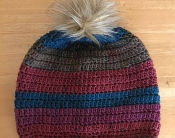 Beanie or Toboggan with Furry Pompon