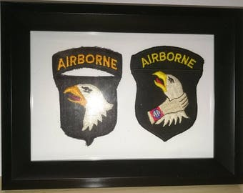 U S 101 Airborne Screaming Eagle military framed patch