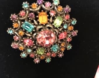 Vintage coro brooch-multicolor beautiful mandala style