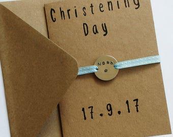 Personalised christening card / aluminium charm / metal stamped