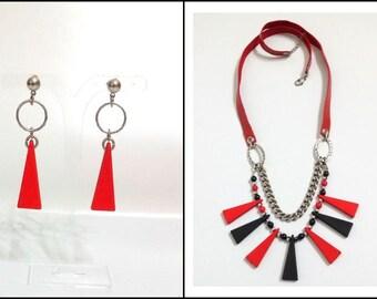 Gothic jewelry set, Jewelry set, Triangle jewelry, Jewelry set gift, Gothic jewelry gift, Black and red, Leather jewelry, Women jewelry