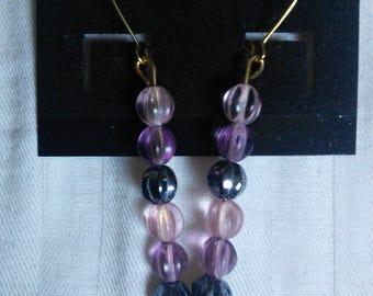 Pink, purple and black beaded earrings