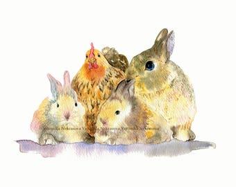 Farm Nursery Decor Farm Animal Nursery Wall Art Original watercolor Rabbit Bunny Chicken