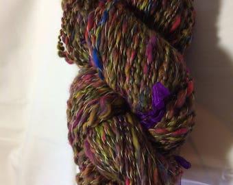 Hand spun art yarn, spiral plied, Fireworks colourway, 100g, approx 146m, merino