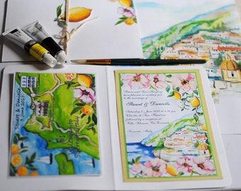 Hand painted, watercolour lemons Italian Wedding Map