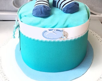 Diaper cake all in blue