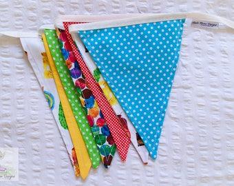 Eric Carle's Hungry caterpillar colourful fun fabric bunting / pennant flags