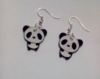 Handmade panda crazy plastic earrings