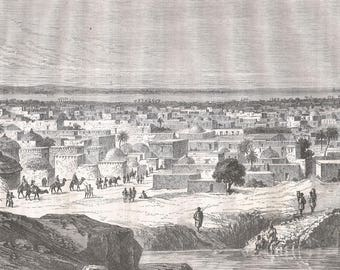 Sudan 1860, View of Kano, warehouse of Central Sudan, Old Antique Vintage Engraving Art Print, Town, Building, Man, Woman, Animal, Camel