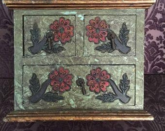 Vintage hand carved and painted jewelry box