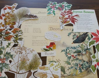 December Collage Pack, December Paper Ephemera, 20+ pieces paper pack, Paper ephemera lot, junk journal pack, theme paper lot
