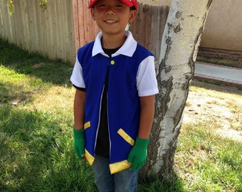 Child's Ash Costume. Pokemon Go. Shirt with vest, gloves, and hat! Homemade. Halloween Costume. Birthday party outfit. Trainer. Boys Girls