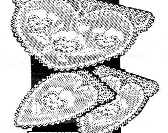 PDF Filet Crochet Pattern, Pansys Chair Back Set with Arm Rests