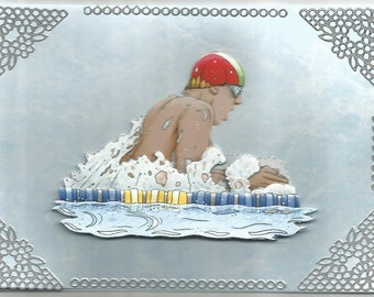 Sports, 3d card, handmade, category swimming - birthday, anniversary, get well, thank you, retirement, competition, swimming.