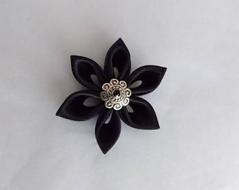 Flowers kanzashi handmade black satin