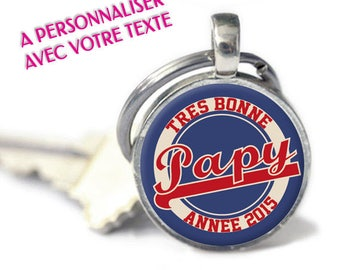 "Keychain - model ""Happy new year - retro"" - 2 colors available: man / woman (keychain to personalize)"