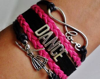 Dance bracelet, Dancer gift, Gift for Dancer, Dance Teacher gift, Coach jewelry, Dance Music jewelry, Dancing jewelry, Black/Pink