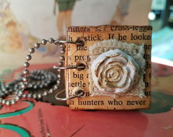 Hand made book necklace