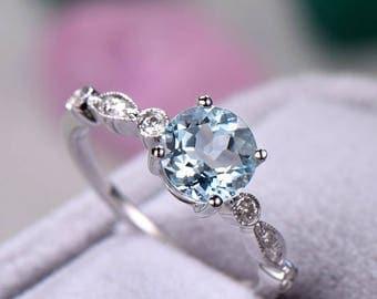 Aquamarine engagement ring Marquise Art Deco Round Cut sterling silver manmade diamond white/rose/yellow gold plated garnet morganite.