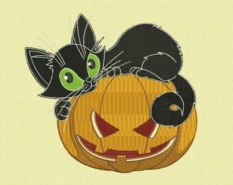 Pumpkin & Black Cat Embroidery Design - 4 SIZES