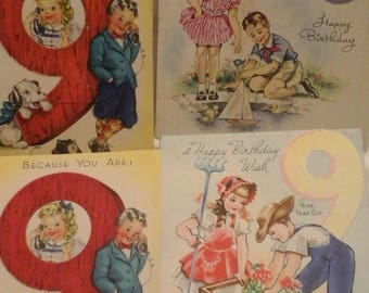 Vintage  9th birthday  greeting  cards