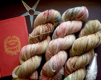 A DICKENSIAN CHRISTMAS - Hand Dyed Yarn - Exhibition Sock Base - 80/20 Merino/Nylon - Sock Yarn - Holiday Yarn - Christmas Yarn