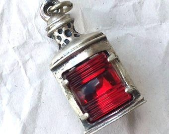 Vintage Sterling Silver 925 Ship Boat Lamp Charm Pendant Red by Beau Sterling