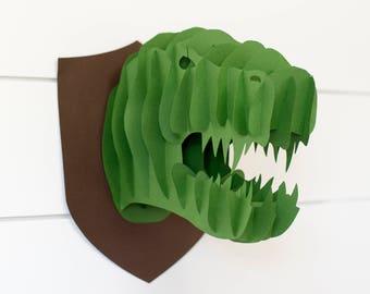 3-D Dinosaur Head - Dinosaur Birthday Party Decorations - Dinosaur Party - Dinosaur Nursery - Dinosaur Room Decoration - 3-D Dinosaur Head