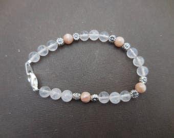 Bracelet en quartz rose et pierre de lune - pierre fine