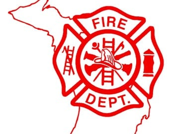 5.5 IN Michigan State Firefighter Maltese Cross - in Red, Pink, or White