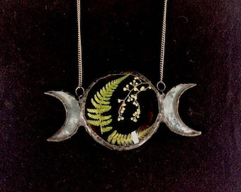 Crescent Moons Necklace with Pressed Ferns and Trail Plants