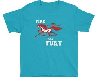 Fire And Fury Youth Short Sleeve T-Shirt - Horse Print Shirt - Horse Riding Tshirt - Kids Tee - Kids Clothing