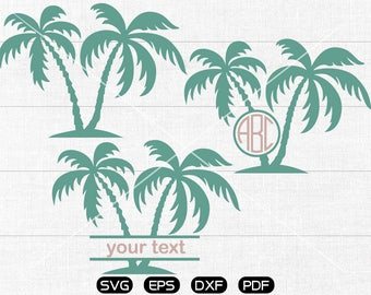 Palm Tree SVG, Palm Tree Clipart, Monogram cricut, silhouette cut files commercial use