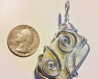 Raw aquamarine wire wrap, wire wrapped aquamarine, aquamarine pendant, raw aquamarine jewelry, aquamarine necklace, wire wrapped jewelry