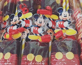 Mickey Mouse Themed Chocolate Covered Rice Krispies Treats